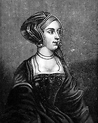 Anne Boleyn (c1504-1536) second wife of Henry VIII of England: mother of Elizabeth I: found guilty of high treason on grounds of adultery: charges almost certainly fabricated. 19th century engraving after Holbein