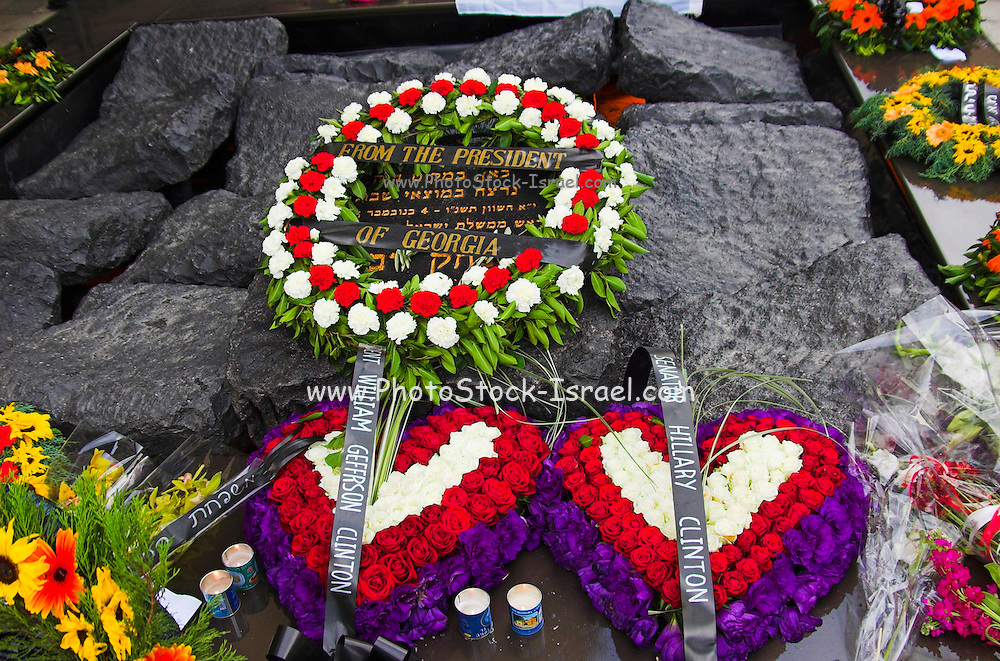 Tel aviv Israel  wreaths from senator Hillary and Bill Clinton on Yitzhak Rabin memorial, on the tenth year of his assassination, November 2005