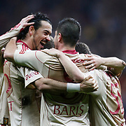 Galatasaray's Servet CETIN (L) celebrate his goal with team mate during their Turkish Superleague soccer match Galatasaray between Sivasspor at the Turk Telekom Arena at Aslantepe in Istanbul Turkey on Sunday 23 January 2011. Photo by TURKPIX
