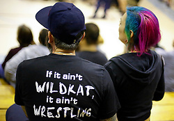 12 March 2016. Metairie, Louisiana.<br /> Wrestling action from Wildkat Sports and Entertainment's 'March into Mayhem' at the Meisler Middle School. Spectators in the crowd enjoy the show.<br /> Photo©; Charlie Varley/varleypix.com