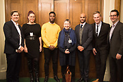 MATT HISCOCK; NATASHA DEVON; MO GILLIGAN; ANN COFFEY MP; LEON MCKENZIE; MARTIN DAUBNEY,; JEFF RAIDER,  Ann Coffey MP hosts a reception and panel debate  on behalf of Harry's Grooming to launch the Masculinity Report. Houses of Parliament. 16 November 2017.