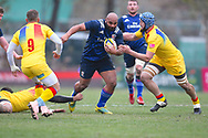 USA player Paul Lasike breaks tackles in the first half during the November Test match between Romania and USA at Ghencea Stadium, Bucharest, Romania on 17 November 2018.