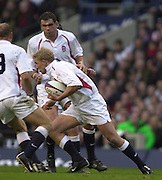 Richmond/Twickenham, England, Autumn International, and All Blacks Trianing at Old Deer Park. <br /> 09/11/2002<br /> International Rugby England vs New Zealand<br /> Lewis Moody  surges for the gap between England collegues  Martin Johnson background and Lawrence Dallaglio (No.8)       [Mandatory Credit:Peter SPURRIER/Intersport Images]