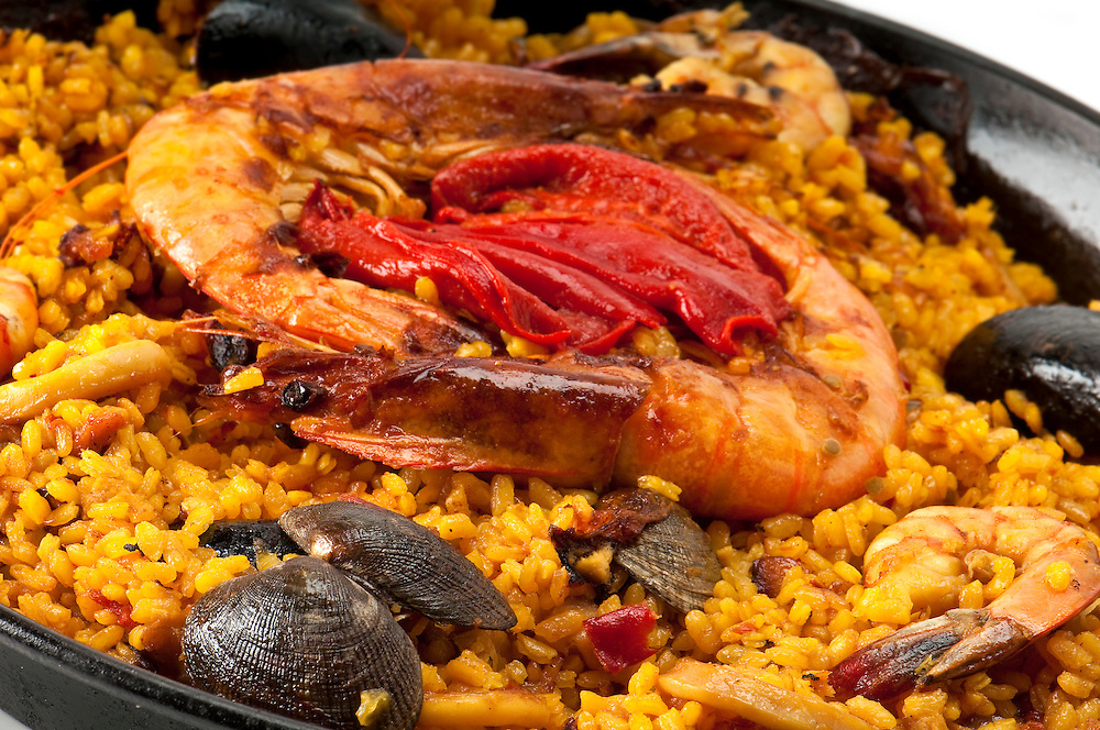 Macro shoot Tradition Seafood Spanish Paella in Pan, this is a typical spanish dish.