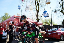 Alexis Ryan (USA) on her way to sign on at La Flèche Wallonne Femmes 2018, a 118.5 km road race starting and finishing in Huy on April 18, 2018. Photo by Sean Robinson/Velofocus.com