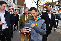 © Licensed to London News Pictures. 30/04/2016<br /> <br /> UKIP Leader Nigel Farage campaigning with UKIP's London Mayoral candidate Peter Whittle in Orpington High Street,Orpington,Kent today (30.04.2016).<br /> <br /> (Byline:Grant Falvey/LNP)