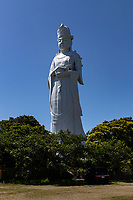 """Tokyo Bay Kannon is a 56m-high statue of Kannon built at the Minami Boso National Park at the top of Mt. Otsubo overlooking Tokyo Bay.<br /> This statue was erected in 1958 and has been a landmark ever since.  Its appearance is of a peaceful face that wishes for our happiness and a peaceful world.  The sculptor of Tokyo Wan Kannon is Mr. Ko Hasegawa, a sculptor who won the International Grand Prix.There are many other works by Mr. Hasegawa in Kannon's womb.The view of Tokyo Bay from the """"heavenly world"""" the height of the crown) is superb, and on a clear day, Mt. Fuji and the sunset can be seen."""