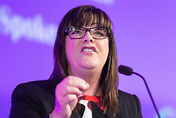 © Licensed to London News Pictures . 25/09/2015 . Doncaster , UK . LOUISE BOURS speaks at the 2015 UKIP Party Conference at Doncaster Racecourse , this morning (Friday 25th September 2015) . Photo credit : Joel Goodman/LNP