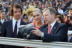 Actress Kate Winslet with boyfriend Ned Rocknroll (left) and Winfried Engelbrecht Bresges (right), CEO of Hong Kong Jockey Club, Sha Tin racecourse, Hong Kong, China, December 30, 2012. Photo by Imago / i-Images...UK ONLY