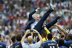 France coach Didier Deschamps is thrown in the air during the 2018 FIFA World Cup Russia Final match between France and Croatia at the Luzhniki Stadium on July 15, 2018 in Moscow, Russia