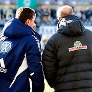 Werder Bremen's coach Thomas Schaaf (R) and Vfl Wolfsburg's coach Dieter Hecking (L) during their Tuttur.com Cup Final soccer match Werder Bremen between Werder Bremen v Vfl Wolfsburg at Mardan stadium in Antalya Turkey on 09 Wednesday January, 2013. Photo by Aykut AKICI/TURKPIX