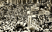 The American Depression: March on Washington by ex-servicemen asking for the  bonuses promised to them to be paid in a lump sum.  The government could not grant their request due to a budget deficit. The men stormed the Capitol in protest. 1932.
