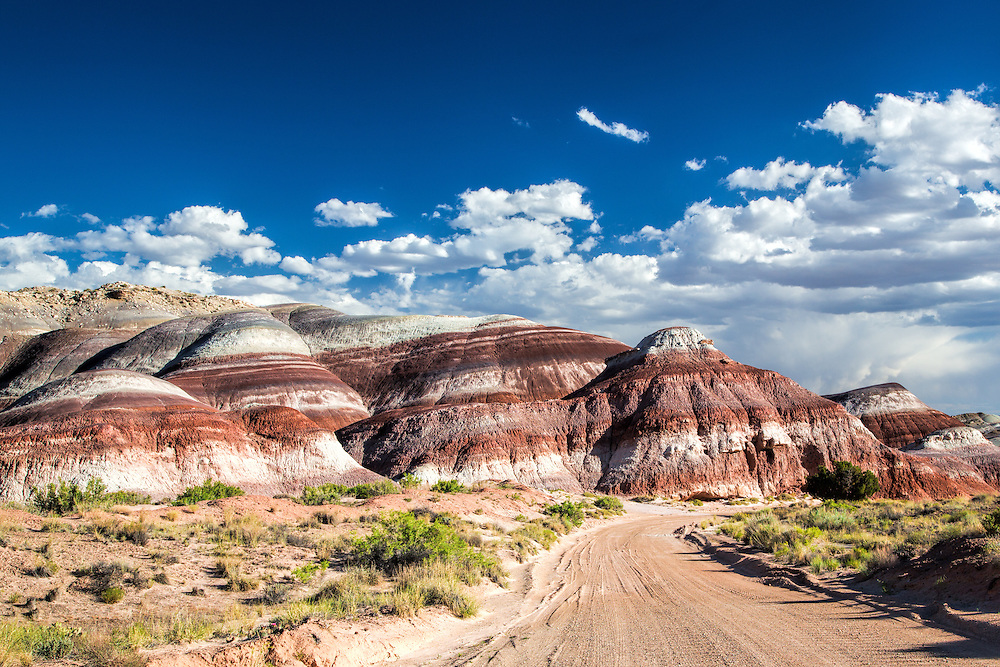 Along Cathedral Valley Road near Capital Reef National Park, this image shows the vivid colors of the Bentonite Hills.