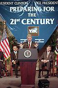 President Bill Clinton discusses the computer glitch known as the Year 2000 problem or by it's acronym 'Y2K' during a speech at the National Academy of Science July 14, 1998 in Washington, DC. The glitch involves the failure of computer software to recognize the year 2000 and can potentially cause massive problems in government and industry.
