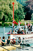 Henley on Thames, England, 1999 Henley Royal Regatta, River Thames, Henley Reach,  [© Peter Spurrier/Intersport Images], Henley Steward, Mike WILLIAMS, starts a race using the Customary, Red Flag,