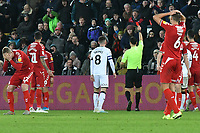 Football - 2019 / 2020 Sky Bet (EFL) Championship - Swansea City vs. Middlesbrough<br /> <br /> George Saville of Middlesbrough & Dael Fry of Middlesbrough look despondent as Marcus Browne (Middlesbrough) is shown the red card. by  referee Dean Whitestone , at The Liberty Stadium.<br /> <br /> COLORSPORT/WINSTON BYNORTH