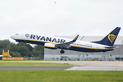 © Licensed to London News Pictures. 03/09/2020. Manchester, UK. Ryanair flight FR4088 takes off from Manchester Airport on its way to Faro, Portugal. Portugal could be added to the UK quarantine list today. Photo credit: Kerry Elsworth/LNP