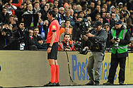 Referee Deniz Aytekin checks the VAR to award a penalty to Italy during the Friendly match between England and Italy at Wembley Stadium, London, England on 27 March 2018. Picture by Stephen Wright.