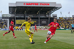 November 4, 2018 - Columbus, OH, U.S. - COLUMBUS, OH - NOVEMBER 04: Columbus Crew forward Pedro Santos (7) attempts a shot on goal in the MLS eastern conference semifinals game between the Columbus Crew SC and the New York Red Bulls on November 04, 2018 at Mapfre Stadium in Columbus, OH. The Crew won 1-0. (Photo by Adam Lacy/Icon Sportswire) (Credit Image: © Adam Lacy/Icon SMI via ZUMA Press)