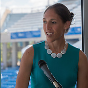 August 16, 2014, New Haven, CT:<br /> Former WNBA player Rebecca Lobo speaks during the Aetna Symposium on day four of the 2014 Connecticut Open at the Yale University Tennis Center in New Haven, Connecticut Monday, August 18, 2014.<br /> (Photo by Billie Weiss/Connecticut Open)