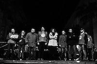 """Taranto, Italy - 19 January 2013:  Comic Beppe Grillo, leader of the 5 Stars Movement in Taranto, Italy, on January 19th 2013.ROME, ITALY - 19 JANUARY 2013: Beppe Grillo, a comedian and leader of the 5 Stars Movement (M5S, Movimento 5 Stelle) rallies in Taranto, Apulia, on January 19 2013. Grillo, whom presents itself as a """"non-politician"""", and the 5 Stars Movement as """"not a party"""". Grillo has been running a mostly internet-based political campaign through the party's blog and the local groups that have emerged from it. The movement has a strong anti-politics agenda: """"All political parties are crooked and they all need to go"""", Grillo says.<br /> <br /> <br /> A general election to determine the 630 members of the Chamber of Deputies and the 315 elective members of the Senate, the two houses of the Italian parliament, will take place on 24–25 February 2013. The main candidates running for Prime Minister are Pierluigi Bersani (leader of the centre-left coalition """"Italy. Common Good""""), former PM Mario Monti (leader of the centrist coalition """"With Monti for Italy"""") and former PM Silvio Berlusconi (leader of the centre-right coalition).<br /> <br /> ###<br /> <br /> ROMA, ITALIA - 24 GENNAIO 2013: <br /> <br /> a Roma, il 24 gennaio 2013.<br /> <br /> Le elezioni politiche italiane del 2013 per il rinnovo dei due rami del Parlamento italiano – la Camera dei deputati e il Senato della Repubblica – si terranno domenica 24 e lunedì 25 febbraio 2013 a seguito dello scioglimento anticipato delle Camere avvenuto il 22 dicembre 2012, quattro mesi prima della conclusione naturale della XVI Legislatura. I principali candidate per la Presidenza del Consiglio sono Pierluigi Bersani (leader della coalizione di centro-sinistra """"Italia. Bene Comune""""), il premier uscente Mario Monti (leader della coalizione di centro """"Con Monti per l'Italia"""") e l'ex-premier Silvio Berlusconi (leader della coalizione di centro-destra)."""