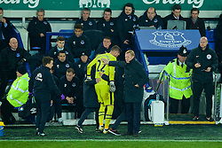 LIVERPOOL, ENGLAND - Monday, December 19, 2016: Everton's manager Ronald Koeman pats goalkeeper Maarten Stekelenburg on the back as he is forced to be substituted after being injured during the FA Premier League match against Liverpool, the 227th Merseyside Derby, at Goodison Park. (Pic by Gavin Trafford/Propaganda)
