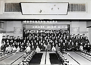 group photo of retail store owners during a food corporation invited meeting Japan 1953