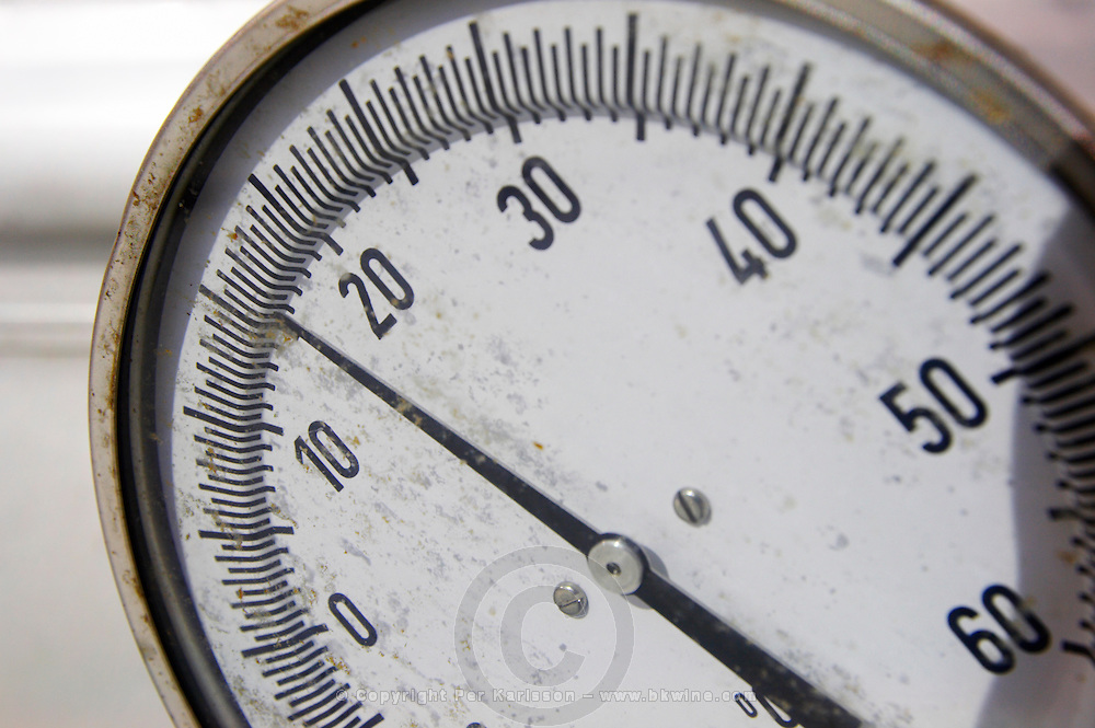 thermometer on fermentation vat Bodegas Vinas Zamoranas, DO Tierra del Vino de Zamora , Coreses spain castile and leon