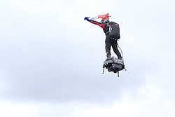 September 1, 2019, Spa Francorchamps, Belgium: Franky Zapata in demonstration with his Flyboard on the circuit of Spa Francorchamps as part of the Belgian Grand Prix of Formula one..Charles Leclerc wins his first Formula One Grand Prix (Credit Image: © Pierre Stevenin/ZUMA Wire)