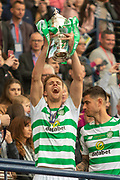 Kristoffer Ajer holds the William Hill Scottish Cup aloft following their victory today in the William Hill Scottish Cup Final match between Heart of Midlothian and Celtic at Hampden Park, Glasgow, United Kingdom on 25 May 2019.