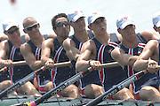 Beijing, CHINA, USA JM8+, bow, Micheal GENNARO, Christopher LUTZ, Ian WINTHROP, Nareg GUREGIUN, Theodore LAHER, Nicholas JORDEN, Christopher BOWMAN, Ian SILVEIRA and Anatony ALTIMARI, during the  2007. FISA Junior World Rowing Championships Shunyi Water Sports Complex. Wed. 08.08.2007  [Photo, Peter Spurrier/Intersport-images]..... , Rowing Course, Shun Yi Water Complex, Beijing, CHINA,