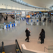 The Jetblue terminal in uncrowded at JFK International Airport during the holiday season with the Coronavirus (Covid-19) outbreak in Queens, New York on Tuesday, December 8, 2020. (Alex Menendez via AP)