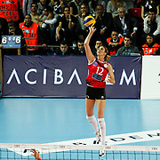 Vakifbank GS TT's Jelena NIKOLIC during their Women's Volleyball CEV Champions League semi final match at Burhan Felek Arena in Istanbul, Turkey on 20 March 2011. Photo by TURKPIX
