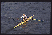 London. United Kingdom. Robert LUKE. 1990 Scullers Head of the River Race. River Thames, viewpoint Chiswick Bridge Saturday 07.04.1990<br /> <br /> [Mandatory Credit; Peter SPURRIER/Intersport Images] 19900407 Scullers Head, London Engl