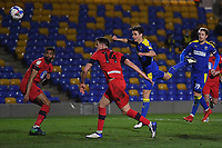 Football - 2020 / 2021 Sky Bet League One - AFC Wimbledon vs Wigan Athletic - Plough Lane<br /> <br /> AFC Wimbledon's George Dobson scores his side's equalising goal to make the score 1-1.<br /> <br /> COLORSPORT/ASHLEY WESTERN