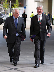 © London News Pictures. 22/11/2012. London, UK. Chairman of the BBC Trust, Lord Patten (left) and Tony Hall (right), the new Director General of the BBC arriving at the BBC's Broadcasting House in central London for a press conference following the appointment of Tony Hall as director general. Tony Hall takes over from George Entwistle who resigned following controversy surrounding Newsnight and Panorama programmes. Photo credit: Ben Cawthra/LNP