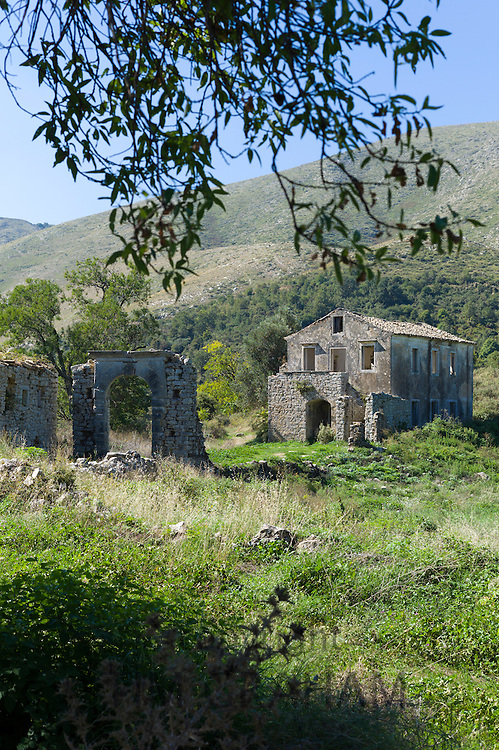 Derelict abandoned Skordilis Mansion house in oldest village in Corfu - ancient Old Perithia - Palea Peritheia, Greece