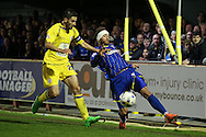 Sean Rigg of AFC Wimbledon is intercepted by Seamus Conneely, the Accrington Stanley captain. Skybet football league two play off semi final, 1st leg match, AFC Wimbledon v Accrington Stanley at the Cherry Red Records Stadium in Kingston upon Thames, Surrey on Saturday 14th May 2016.<br /> pic by John Patrick Fletcher, Andrew Orchard sports photography.