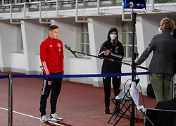 HELSINKI, FINLAND - Thursday, September 3, 2020: Wales' Connor Roberts is interviewed after the UEFA Nations League Group Stage League B Group 4 match between Finland and Wales at the Helsingin Olympiastadion. Wales won 1-0. (Pic by Jussi Eskola/Propaganda)