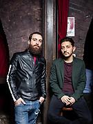 """Gianni Spezzano e Adriano Pantaleo (Nest) ritratti per lo spettacolo """"Non plus ultras"""" del Fringe Festival. Bar del Magazzino su Po, Torino."""