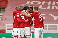 1-0, GOAL celebration by  Middlesbrough  forward Chuba Akpom (10) during the EFL Sky Bet Championship match between Middlesbrough and Luton Town at the Riverside Stadium, Middlesbrough, England on 16 December 2020.