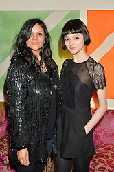 Left to right, director of The Chase JAM PATEL and model DOUG (Sarah Douglas) who appears in The Chase at a screening of the short film The Chase hosted by Jade Parfitt at The Soho Hotel, 4 Richmond Mews, Soho, London on 22nd February 2015.