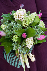 Tied bunch of hyacinths and tulips at Moyses florists