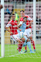GOAL. Bristol City's Sam Baldock, Coventry City's Cyrus Christie and Bristol City's Greg Cunningham watch as the ball crosses the line.  - Photo mandatory by-line: Dougie Allward/JMP - Tel: Mobile: 07966 386802 11/08/2013 - SPORT - FOOTBALL - Sixfields Stadium - Sixfields Stadium -  Coventry V Bristol City - Sky Bet League One