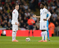 Wayne Rooney of England (Manchester United) ready to start his 100th cap game with Danny Welbeck of England (Arsenal) - Photo mandatory by-line: Alex James/JMP - Mobile: 07966 386802 - 15/11/2014 - SPORT - Football - London - Wembley - England v Slovenia - EURO 2016 Qualifier