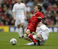 Photo. Aidan Ellis. Digitalsport<br /> Middlesbrough v Bolton Wanderers.<br /> FA Barclaycard Premiership.<br /> 03/04/2004.<br /> Boro's juninho is brought down by Bolton's Nicky Hunt