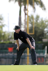 July 17, 2018 - Sarasota, FL, U.S. - Sarasota, FL - JUL 17: First base umpire Mitch Leikam watches the action on the field during the Gulf Coast League (GCL) game between the GCL Twins and the GCL Orioles on July 17, 2018, at Ed Smith Stadium in Sarasota, FL. (Photo by Cliff Welch/Icon Sportswire) (Credit Image: © Cliff Welch/Icon SMI via ZUMA Press)