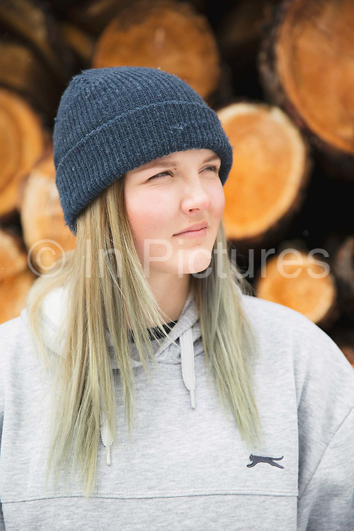 Freestyle female skier Madi Rowlands on 04th May 2017 in Silvaplana, Switzerland. Silvaplana is a municipality in the Maloja Region in the Swiss canton of Graubünden and the name of a lake in the municipality. Its popular alpine sports destination.