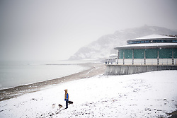 © Licensed to London News Pictures. 6/02/2018. Aberystwyth, Wales, UK. Flurries of snow fall in Aberystwyth, west Wales, on a cold February morning. The Met Office has issued a 'yellow' warning for snow and ice, as a band of sleet and snow moves in from the west, to cover much of Wales and the north of England .Photo credit: Keith Morris/LNP