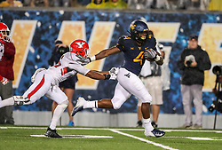 Sep 8, 2018; Morgantown, WV, USA; West Virginia Mountaineers running back Leddie Brown (4) runs the ball during the third quarter against the Youngstown State Penguins at Mountaineer Field at Milan Puskar Stadium. Mandatory Credit: Ben Queen-USA TODAY Sports